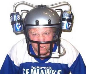 Man in beer helmet