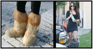 Images of women wearing furry boots