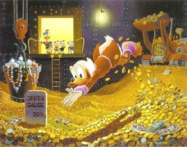 Image of Scrooge diving into his money bin