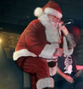 Image of Santa Claus growling heavy metal music