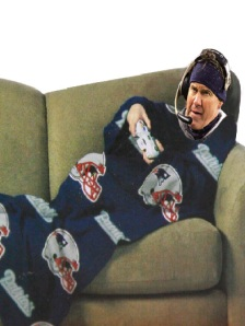 Image of Bill Belichick wearing a Snuggie