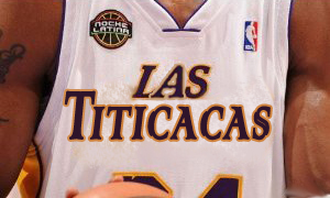 Image of Lakers alternate jerseys for NBA Noche Latino