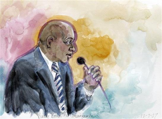 Image of Barry Bonds court sketch