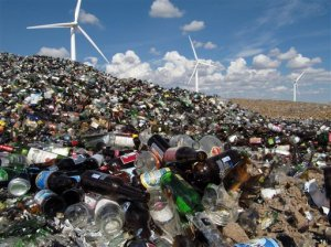 Image of glass waiting to be recycled