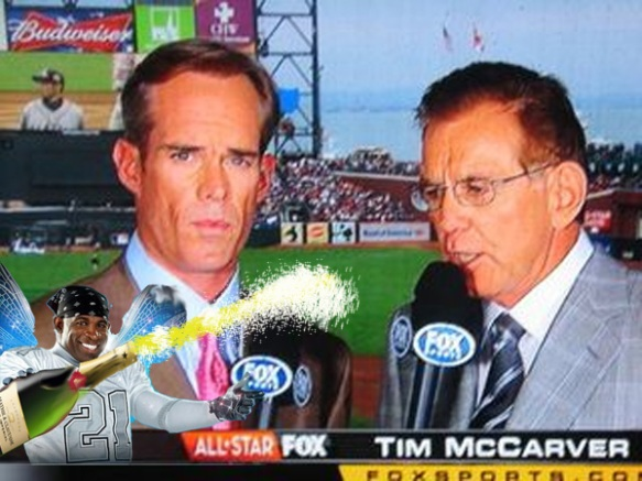 Image of Deion Sanders spraying Tim McCarver with champagne