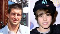 Image of Tim Tebow and Justin Bieber