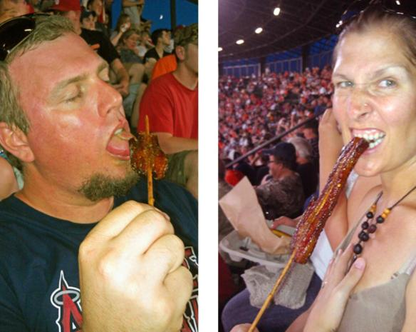 Image of people eating bacon on a stick