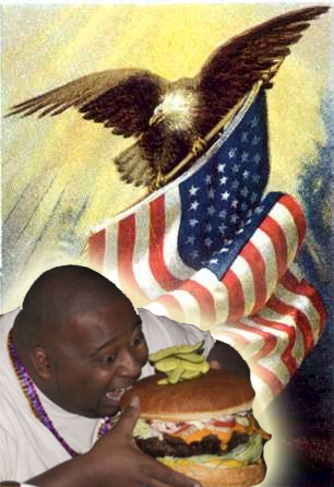 Image of fat man eating burger with American flag and eagle in background