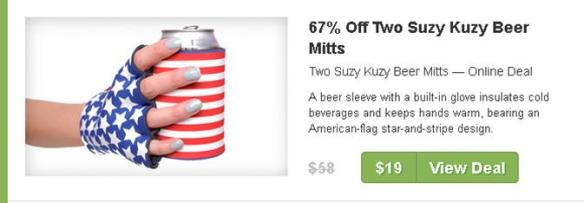 Image of flag coozie and gloves