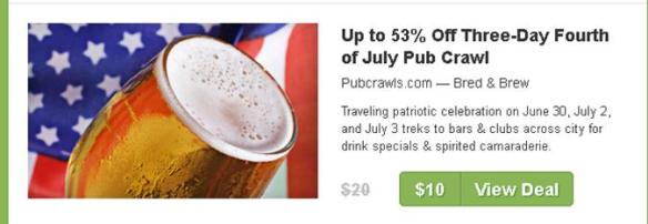 Image of pub craw. coupon