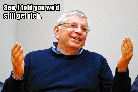 Image of David Stern getting rich