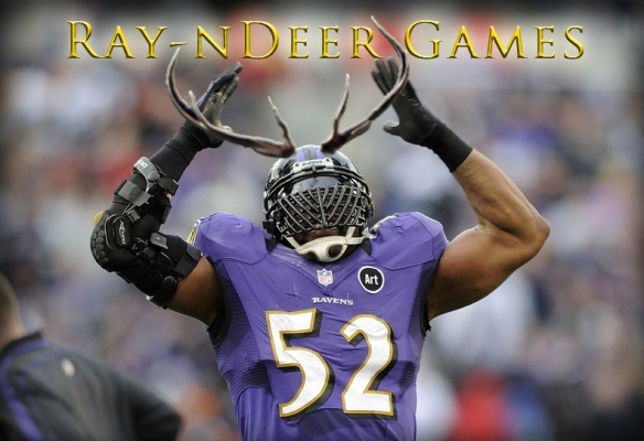Image of Ray Lewis and deer antler spray.