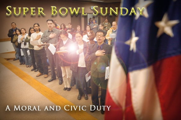 Image of Super Bowl Sunday oath of allegiance.