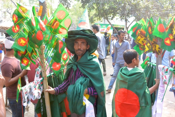 Image of street vendor in Dhaka before cricket match in Bangladesh.